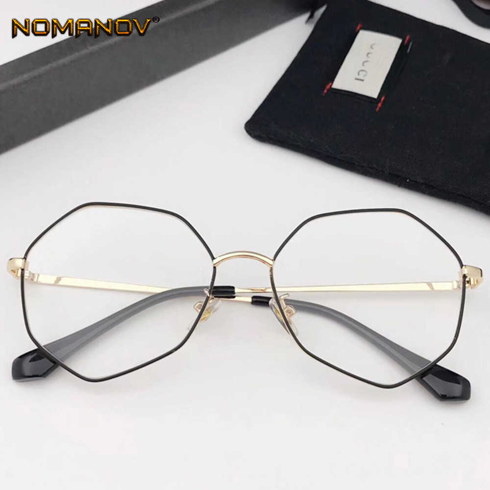 2019 Fashion Personality Retro Polygon Alloy Frame Classic Trend Spectacles With Optical Lenses Or Photochromic Gray / Brown