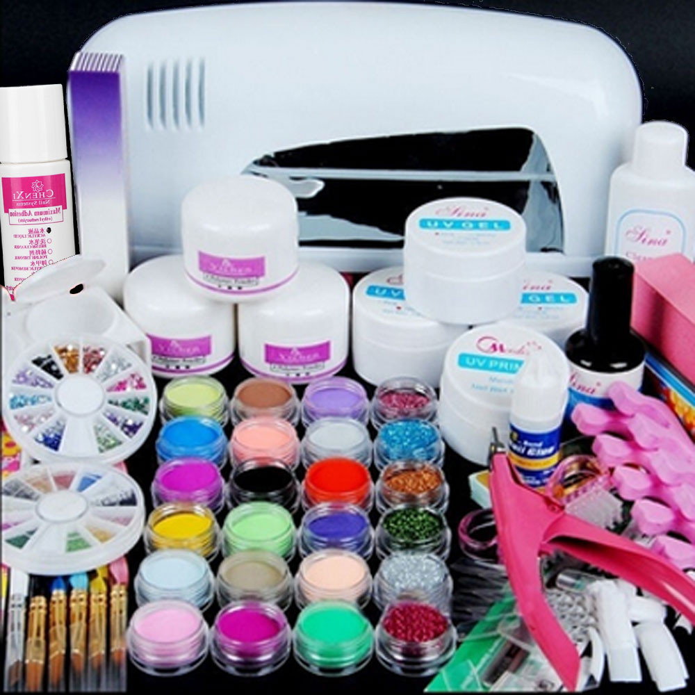9W UV White Dryer lamp 24 color Acrylic Nail Art Gel Tools Acrylic Manicure Kit Nail Powder Decoration Nail Art Tools Kit 1J19 pro starter kit nail salons kit nail art acrylic powder french tips 9w uv lamp glitter powder uv gel manicure set
