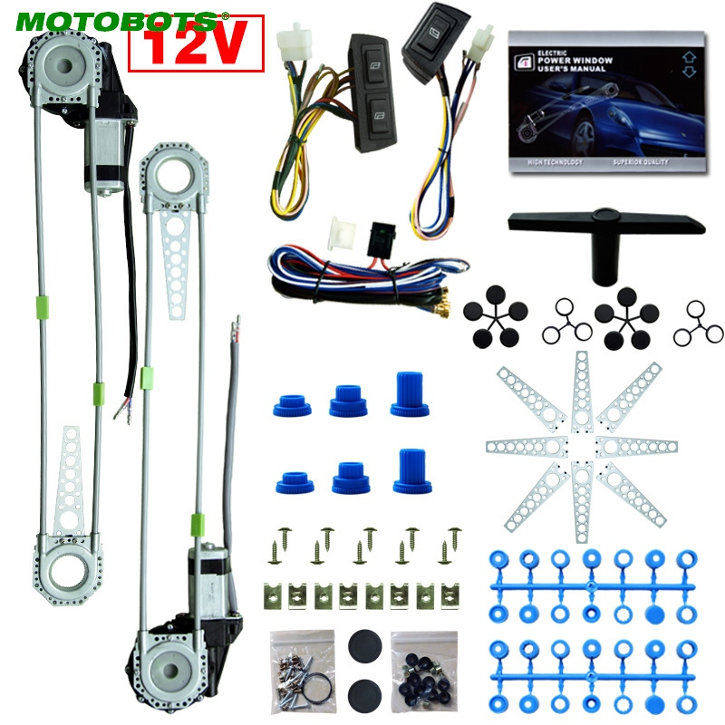 MOTOBOTS Universal 2-Doors Car Auto Electric Power Window Kits With 3pcs/Set Switches And Harness DC12V #CA4100