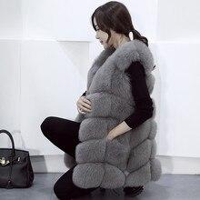 100% Genuine Full Pelt Skin Luxury Fox Fur Long  vest black red blue green gray beige30 colors,real natural fox fur coat