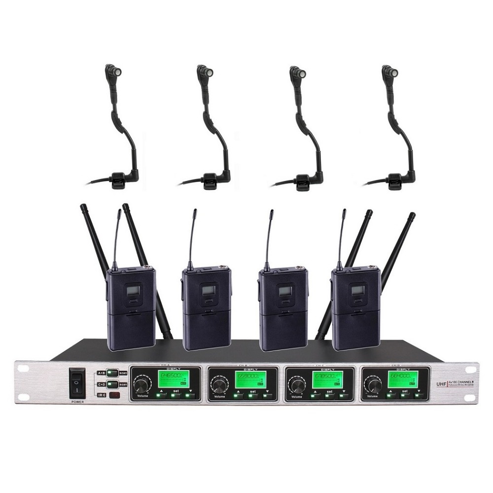 buy professional 4 channel wireless microphone wireless instrument microphone. Black Bedroom Furniture Sets. Home Design Ideas