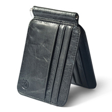 Fashion Retro Genuine Leather Men's Money Clips with 12 Card Slot 2 Folded Open Clamp for Money Cash Bills Thin Billfold Wallet