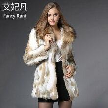 Модная шуба из натурального кроличьего меха с большим воротником из натурального меха енота, женская зимняя верхняя одежда, длинный жилет из натурального кроличьего меха