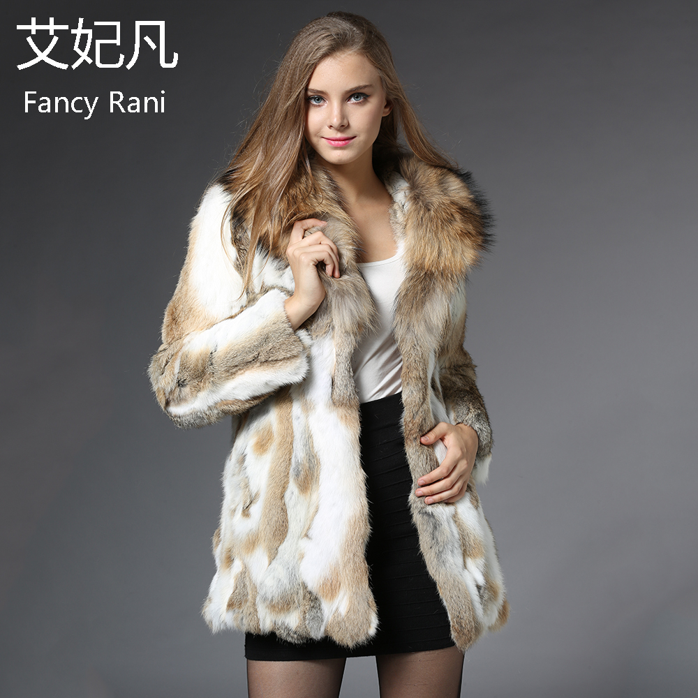 US $108.28 30% OFF|Mode Echtem Kaninchen Fell Mantel mit Big Waschbär Kragen Natürliche Pelz Jacke Frauen Winter Outwear Echt Kaninchen Fell Lange