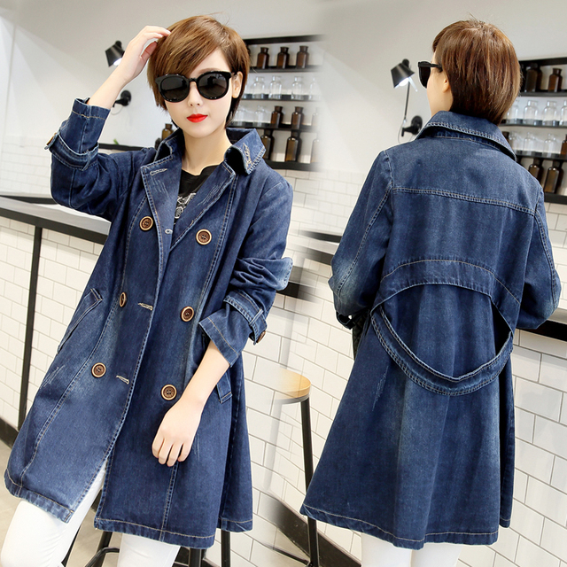 81057a290c2 2018 Autumn Denim Jacket Women Plus Size Long Sleeve Casual lapel Jeans  Jacket Double-breasted Women Long Denim Coat