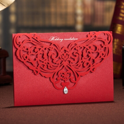 WISHMADE red chinese wedding invitation card with laser cut cover
