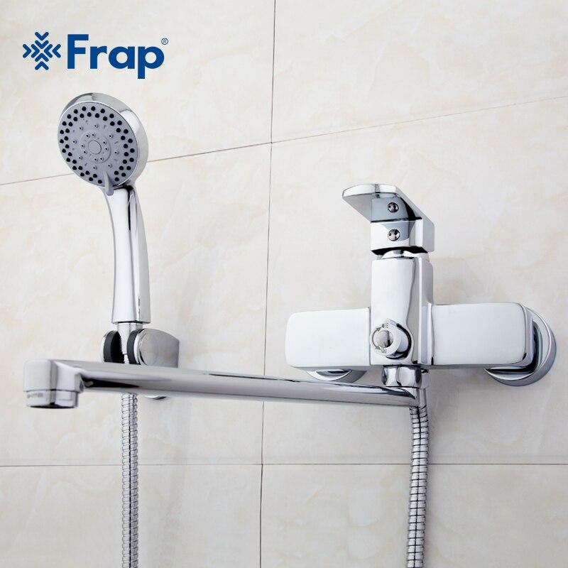 Frap corps En Laiton de Haute Qualité 35 cm longueur sortie tourné salle De Bain robinet de douche Avec ABS tête de douche F2273