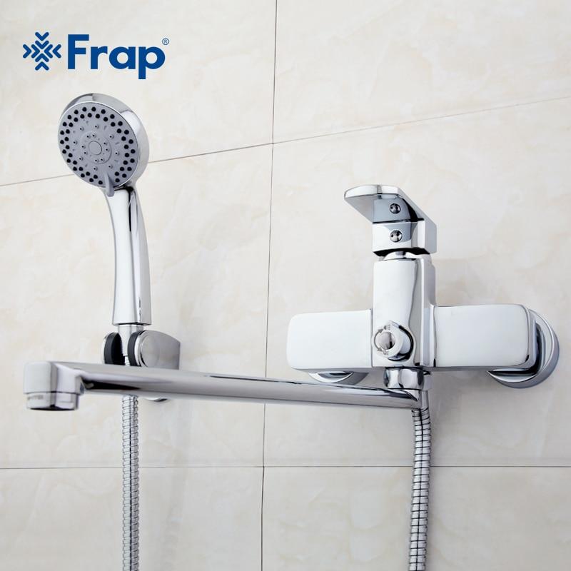 Frap di Alta Qualità corpo In Ottone 35 cm di lunghezza presa ruotato di stanza Da Bagno doccia rubinetto Con doccia ABS testa F2273