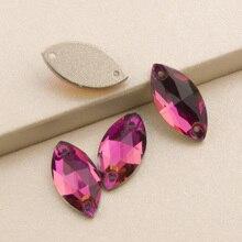 3223 Navette 6x12 9x18mm Fuchsia Strass Crystal Rhinestones Sew on Rhinestone Crystals  Applique For wedding dress