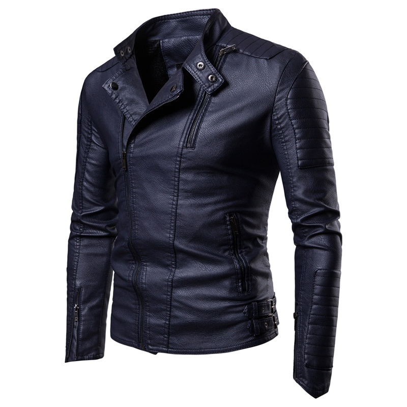 Men Leather Jackets 2020 New Slant-pulled Motorcycle Leather Jacket Men With Suede Trend Casual Leather Jacket