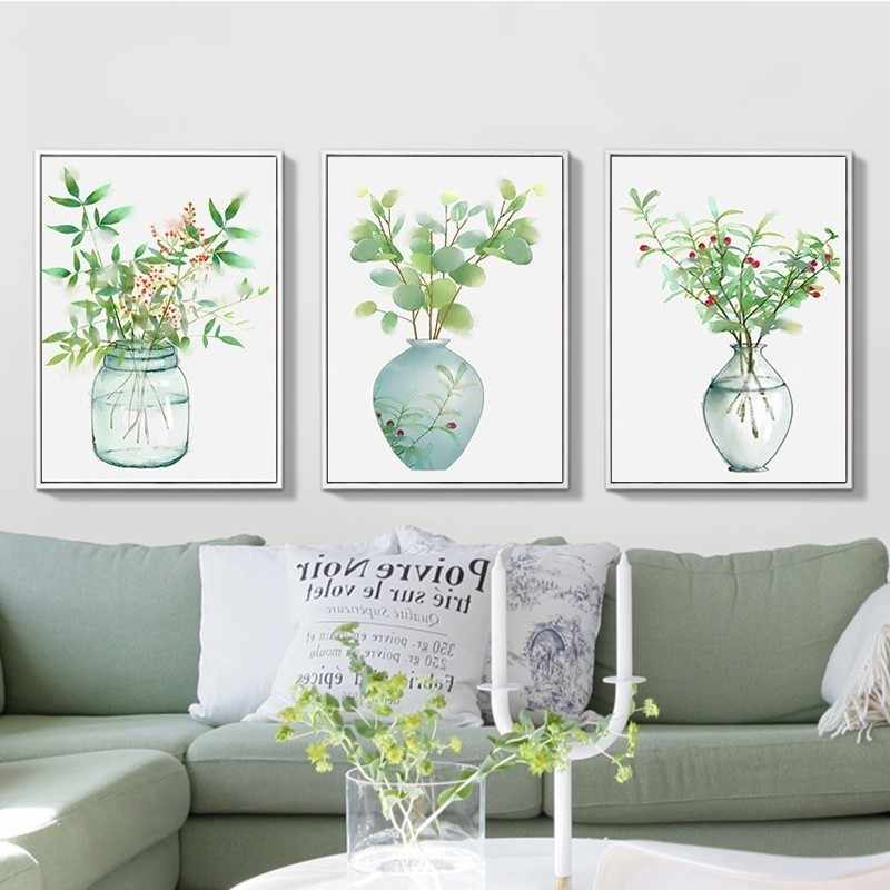 Poster Nordic Green Plant Minimalist Bottle Art Canvas Printings Wall Art Paintings Pop Pictures Living Room Home Decorations