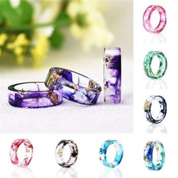 8 Colors Gold Foil Paper Inside Resin Ring for Women Fresh DIY Handmade Dry Flower Ring  Best Mold Dried Flowers DIY  Ring 2018