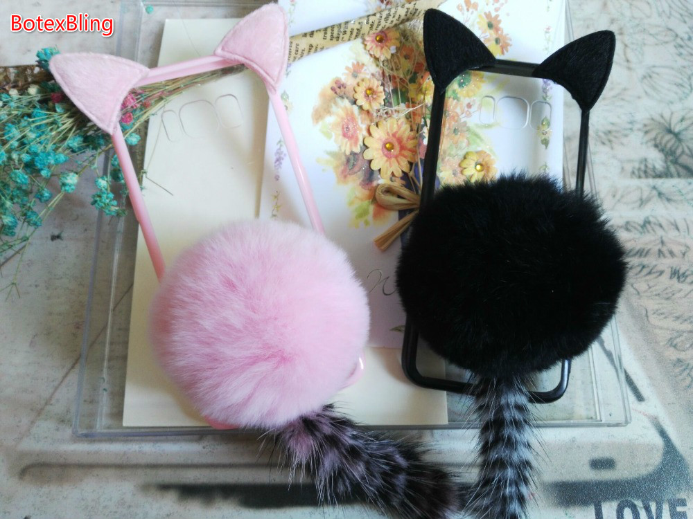 BotexBling Cute Cartoon Cat ear Tail caso Peluche Palla di Pelo Molle Della Copertura Posteriore C5 Per Samsung J3 J5 J7 2016 2017 Prime A3 A5 A7 A8 A9
