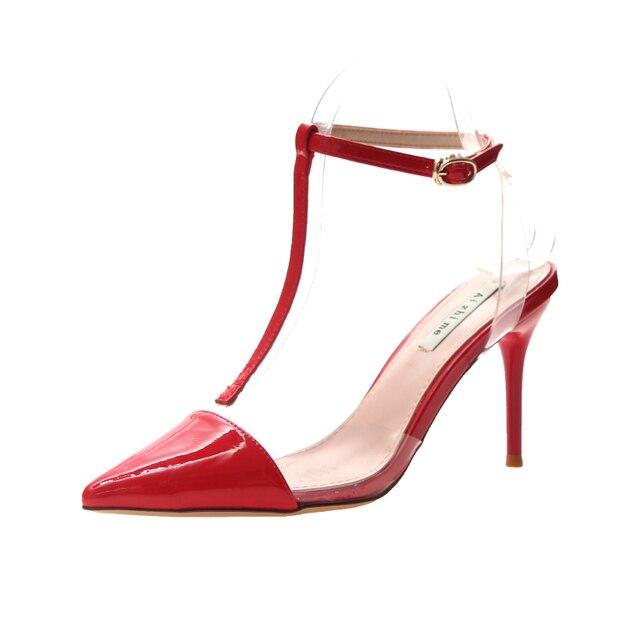 2019 zapatos de mujer de moda sandalias de punta estrecha zapatos de PVC transparentes Sandalias de tacón alto sandalias de vestido de boda zapatos claros