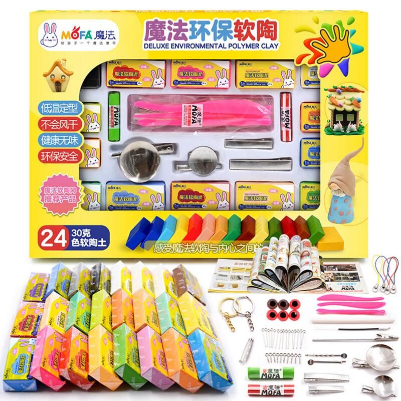24 Colors 720g Polymer Oven Bake Colored Clay Set With Tools Fimo Modeling Clay Educational Toys Children Baking Fimo Polymer Cl mach 1pcs oven bake clay polymer clay figuline 250g packet fimo soft clay modeling skin color