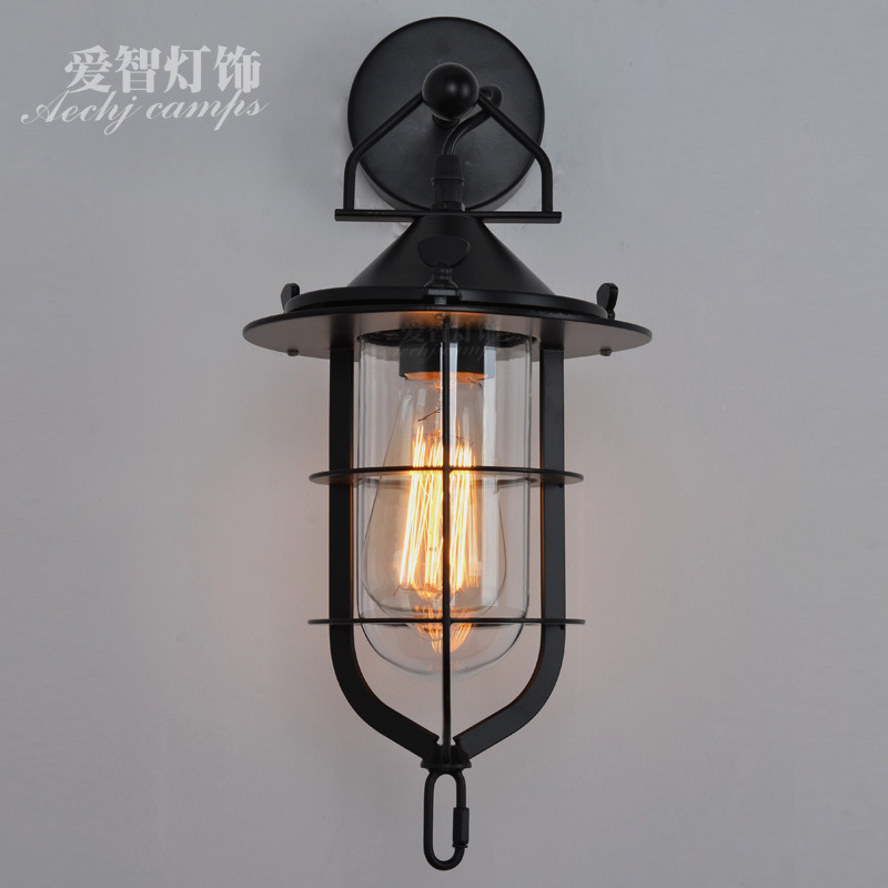 ФОТО Brief loft vintage american antique balcony wrought iron wall lamp lamps