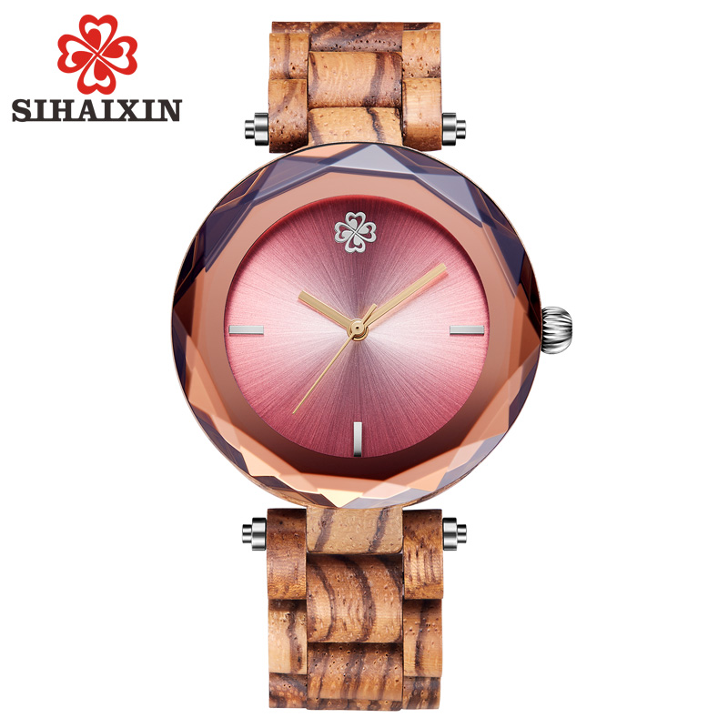 SIHAIXIN wooden bamboo watch female 2018 new arrival Sapphire Glass with full wood band lady wristwatch famous zebra women clock full wooden watches small band bracelet bangle wood watch women female clock fashion