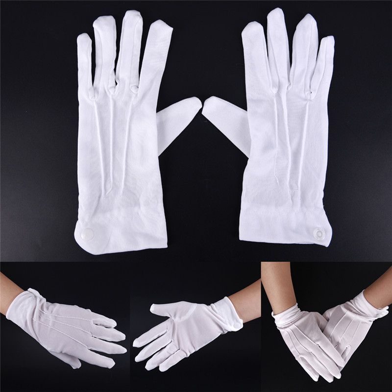1 Pair White Cotton Gloves Work Uniform Catering Uniforms Magician Parades Inspection Five-fingers Women Men's Work Gloves