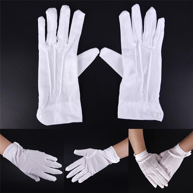 1 Pair White Cotton Gloves Work Uniform Catering Uniforms Magician Parades Inspection Five-fingers Women Men's Work Gloves