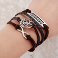 Hot Sale Fashion Vintage Bird Tree Owls Anchors Rudder Rope Braided Bracelet Wrap Leather Bracelet Multilayer bracelets bangles