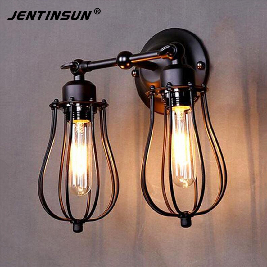 2016 New Vintage E27 Bulbs Wall Lights Iron Lamp Indoor Loft Mounted Lighting Sconce for Bedside Living Room Kitchen Home Decor 2016 vintage e27 wall lamp loft indoor outdoor lighting bedside screw thread style black metal lamps lights for home corridor