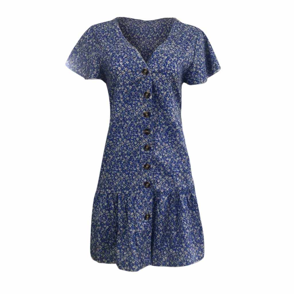 ドレスの女性の夏花柄ファッションカジュアルボヘミアンローブフェムセクシードレスカジュアルヴィンテージボタンビーチミニパーティードレス vestidos