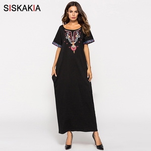 Image 5 - Siskakia Frauen lange Kleid Schwarz ethnische Stickerei patchwork maxi kleider Sommer 2018 städtischen casual T shirt kleid moslemische kleidung
