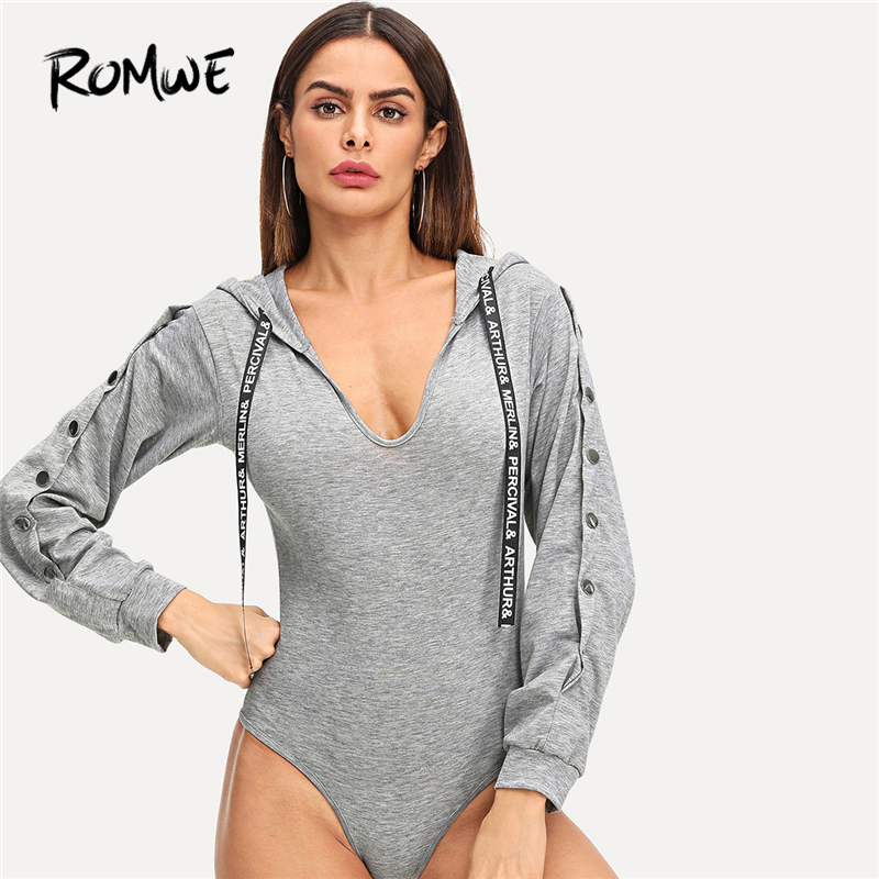 ROMWE Grey Letter Drawstring Detail Hooded Bodysuit Women Casual Autumn New Style Long Sleeve Clothing Female Spring Bodysuit