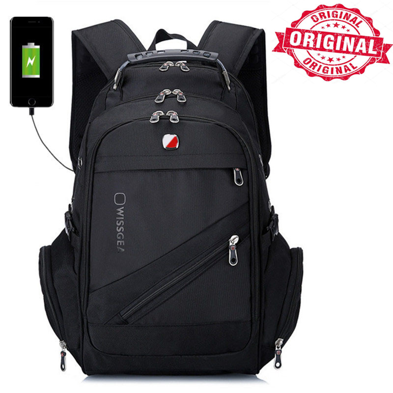 swiss Waterproof Travel Backpack usb charger waterproof men business gear  Laptop Backpack 15.6 17.3 Inch Computer bag College-in Backpacks from  Luggage ... a5518aa311c3b