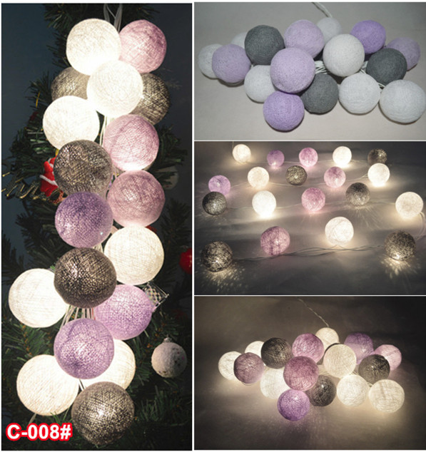 20pcs Set Mixed Gray Purple White Cotton Ball String Lights Fairy Party Wedding Decor C 008 In Holiday Lighting From On