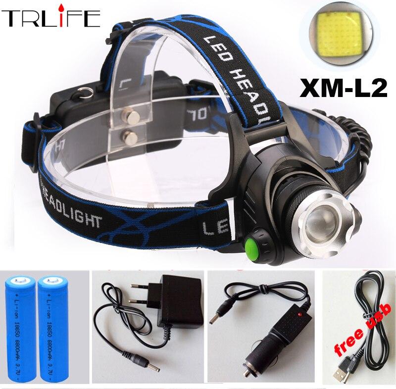 CREE XM-L2 LED 5000LM HeadLight HeadLamp Lamp Flashlight Light Headlamp 3 mode led light + AC / Car charger + 2*18650 Battery ultrafire u 01 800lm 3 mode white light led bike light headlamp silver blue 4 x 18650