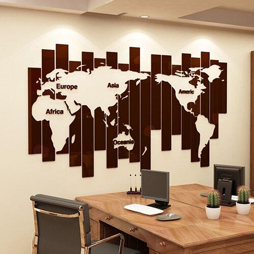 Bricolage créatif carte du monde 3D cristal acrylique stickers muraux moderne salon société bureau décoration mur Art autocollant