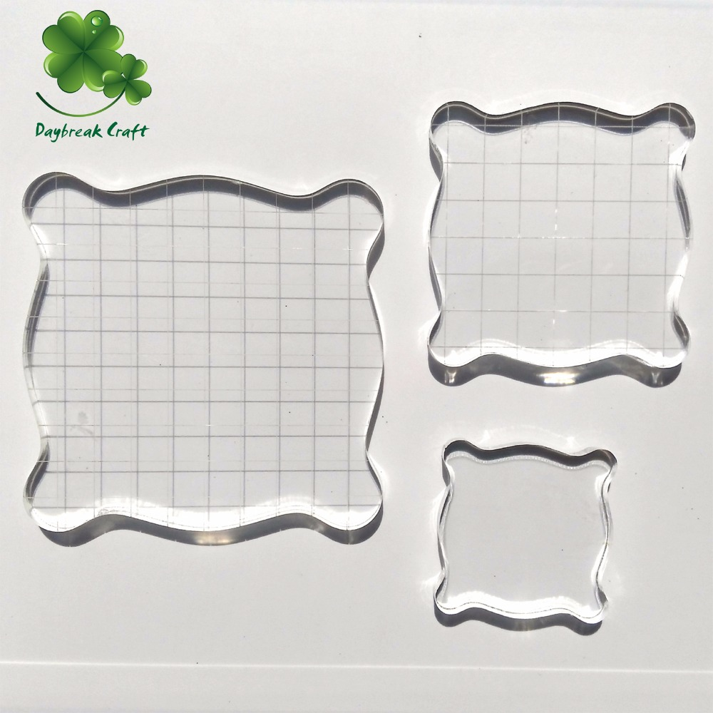 Clear glass blocks for crafts - 3pcs Mixed Size 5cm 7 5cm 10cm Transparent Rubber Stamp Acrylic Block Pad Tools For Clear Stamp