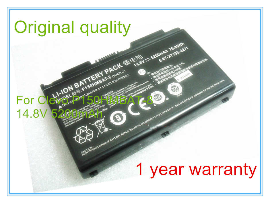 Original 14.8V 5200mAh 76.96Wh P170hmbat-8 battery for 6-87-x710s-4j72 Np8150 Np8130 P170hm P151hm origianl clevo 6 87 n350s 4d7 6 87 n350s 4d8 n350bat 6 n350bat 9 laptop battery