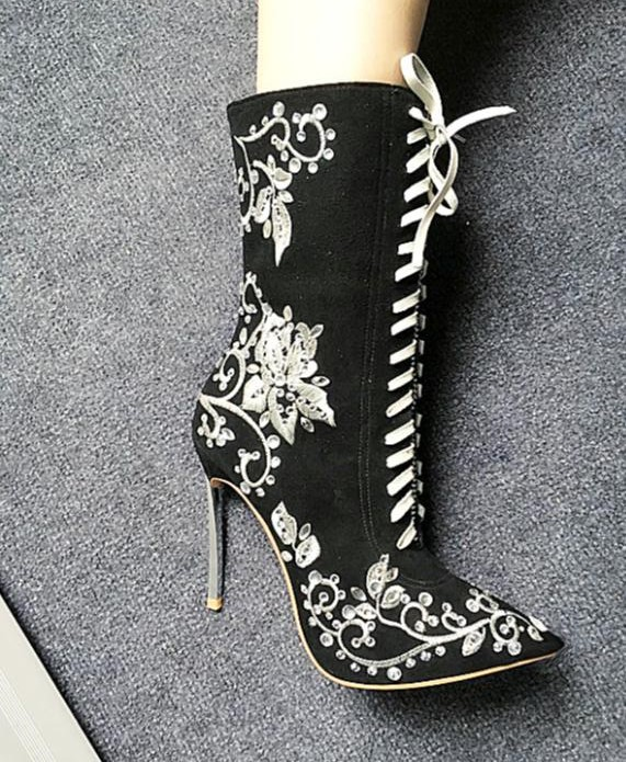 Metal heel embroidered flowers and crystals charming mid-calf boots spring autumn pointed toe lace up high heels boots DFS0105 double buckle cross straps mid calf boots