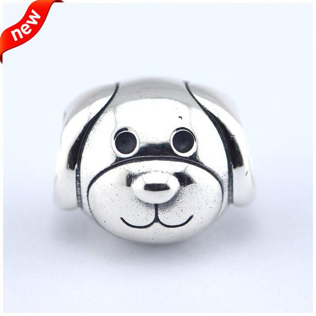 Serve para pandora charme pulseiras contas de leais cão feito de libras esterlinas-sterling-prata-jóias de prata diy para mulheres sfl250