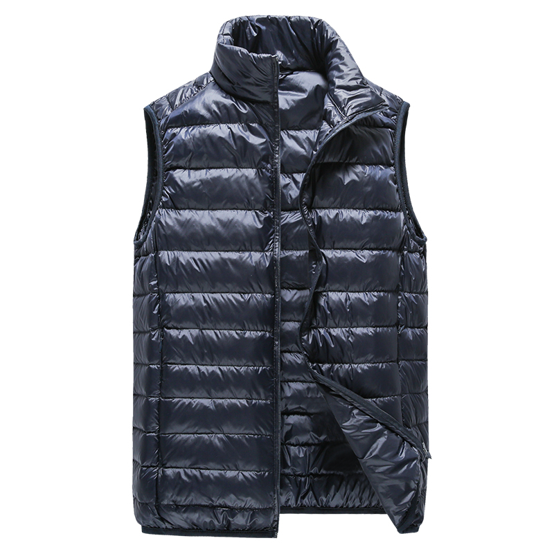 winter Mens fashion boutique thick warm White duck down feather stand collar leisure down-filled jacket vest / Men Down Coats
