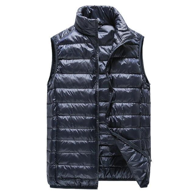 Mùa đông Người Đàn Ông của cửa hàng thời trang dày ấm Màu Trắng vịt xuống lông đứng cổ áo giải trí xuống đầy áo khoác vest/ người đàn ông Xuống Áo Khoác