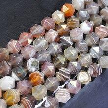 """6-10 мм натуральные Круглые граненые полосы коричневые ботсванские Агаты бусины для изготовления ювелирных изделий 1"""" рукоделие DIY бусины браслеты"""