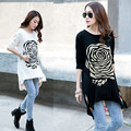 New Spring and Summer Fashion T-shirt Large Size Chiffon Cotton Long Sleeve T-shirt Long Section Loose Casual T-shirt A280