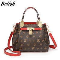 Bolish Women High Capacity Shoulder Bags Daily Shopping Messenger Bags Female PU Luxury Totes Vintage All