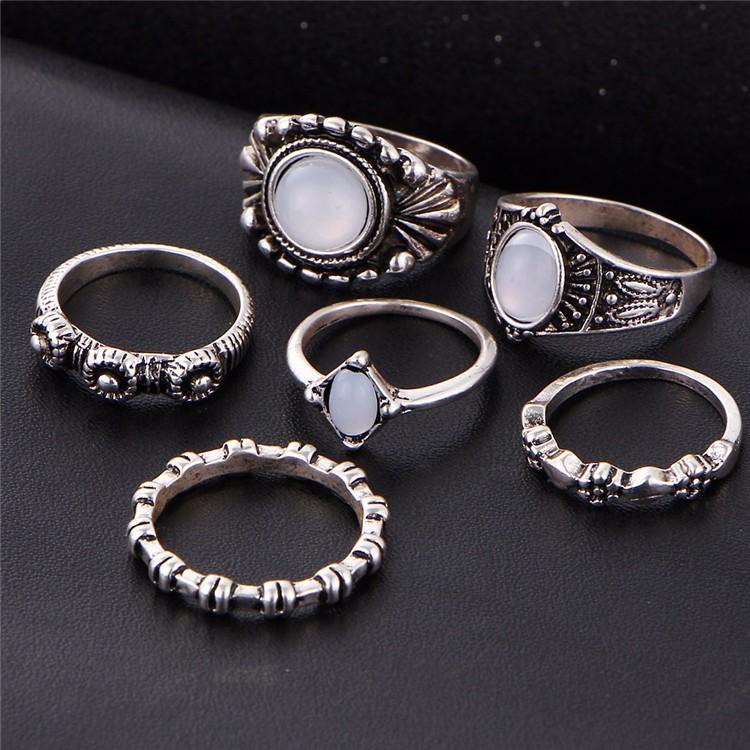 HTB1osQSOFXXXXcxaXXXq6xXFXXXa 6-Pieces Boho Ethnic Vintage Turquoise/Opal Knuckle Ring Set For Women - 2 Styles
