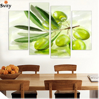 2015 New Printed spray painting wall pictures for kitchen 4 Panel Canvas Art Fruits Modern living room decoration still life