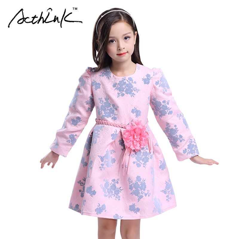 ActhInK Girls Floral Dress with Belt Kids Long Sleeve Wedding Petals Dress for Girls Formal Party Frocks Children Clothing,MC040 acthink 2017 new girls formal solid lace dress shirt brand princess style long sleeve t shirts for girls children clothing mc029