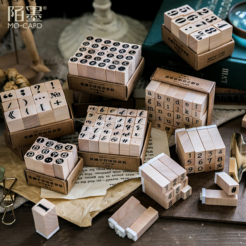 Vintage basic Alphabet Number character stamp DIY wooden rubber stamps for scrapbooking stationery scrapbooking standard stamp-in Stamps from Home & Garden
