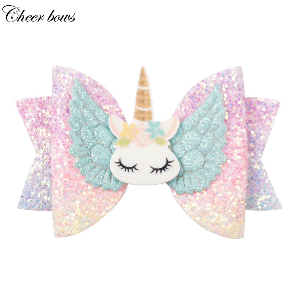"Hair Accessories 3"" Chunky Glitter Hair Bow For Kids Cute Unicorn Wings Hairpins Girls Hair Clip Handmade Child Hair Accessories"