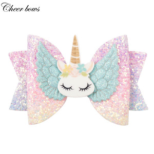 "Hair Accessories 3"" Chunky Glitter Hair Bow For Kids Cute Unicorn Wings Hairpins Girls Hair Clip Handmade Child Hair Accessories(China)"