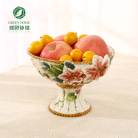 ceramic Creative lily tall fruit Candy Storage dish Dessert Snack Salad plate home decor wedding decoration handicraft figurine