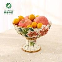 ceramic Creative lily tall fruit Candy Storage dish Dessert Snack Salad plate home decor wedding decoration handicraft figurine