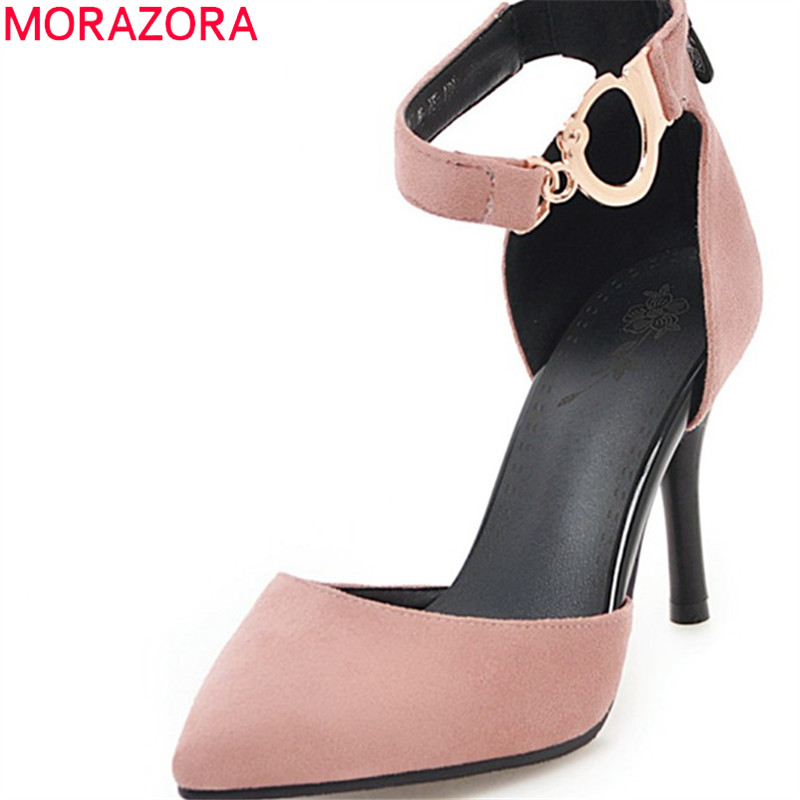 цена на MORAZORA new women pumps comfortable shallow simple buckle strap flock sexy thin heels pointed toe size 34-40 high heels shoes